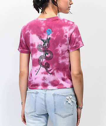 Empyre Yohanna Snake Rose Tie Dye Crop T-Shirt