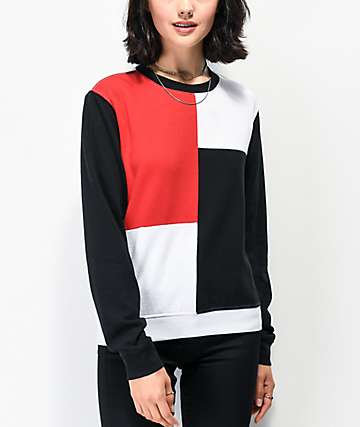Empyre Zia Red, Black & White Colorblock Crew Neck Sweatshirt