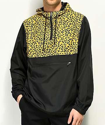 Empyre chaqueta anorak en negro y estampado de guepardo