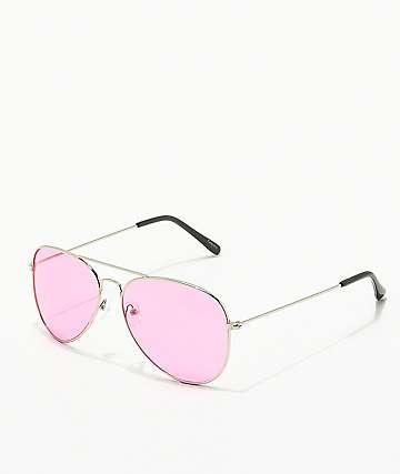 Empyre gafas de sol aviador en rojo y plateado