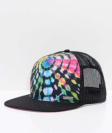 Empyre gorra de camionero negra con efecto tie dye