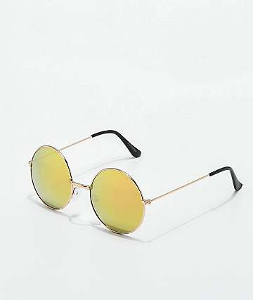 Encounter Rose Gold Mirror Round Sunglasses