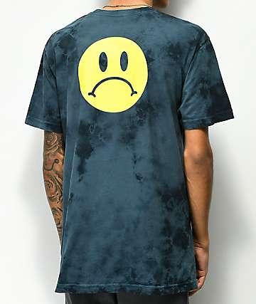 Enjoi Frowny Face camiseta azul marino con efecto tie dye