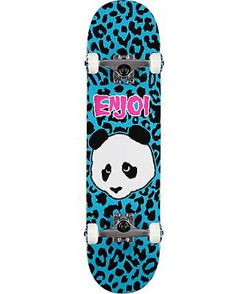 "Enjoi Leopard Punk 7.87"" Blue Skateboard Complete"