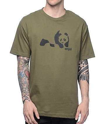 Enjoi Panda Splice Olive T-Shirt