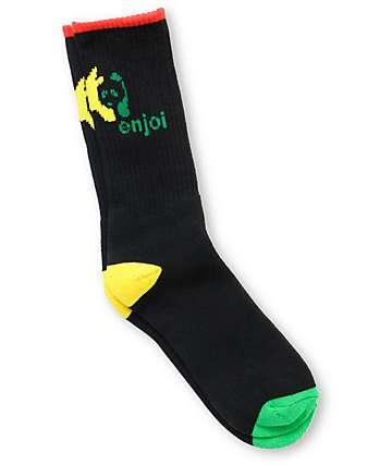 Enjoi Rasta Panda Black Crew Socks