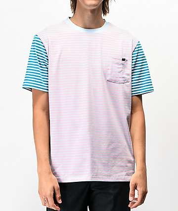 Enjoi Tight Stripe Pink & Teal Pocket T-Shirt