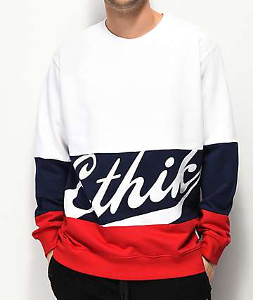 Ethik Club House Color Block Crew Neck Sweatshirt