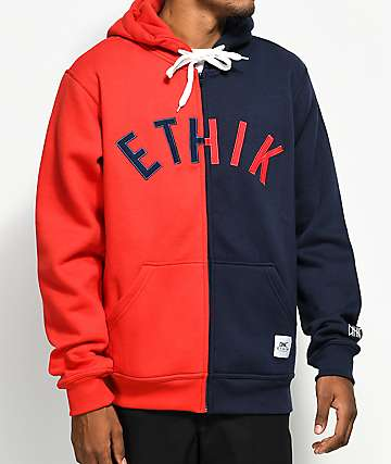 Ethik Split Red & Blue Zip Hoodie