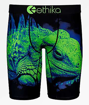 Ethika Boys Green Lizard Boxer Briefs