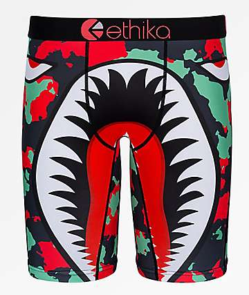 Ethika Boys War Plane Green & Red Boxer Briefs