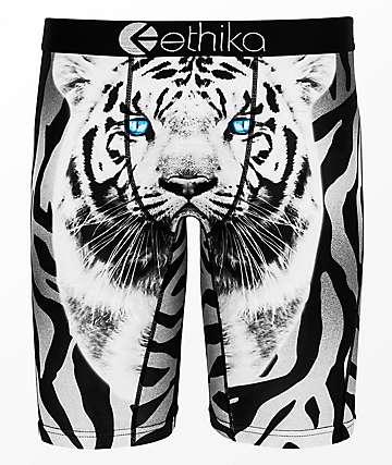 Ethika Boys White Tiger Boxer Briefs
