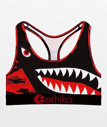 Ethika Hood Nation sujetador deportivo de camuflaje rojo