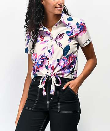 Ethos Floral White Tie Front Short Sleeve Button Up Shirt