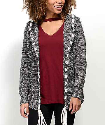 Ethos Lady Charcoal Hooded Cardigan