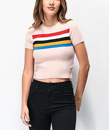 Ethos Roni Blush Stripeblock Knit Crop T-Shirt