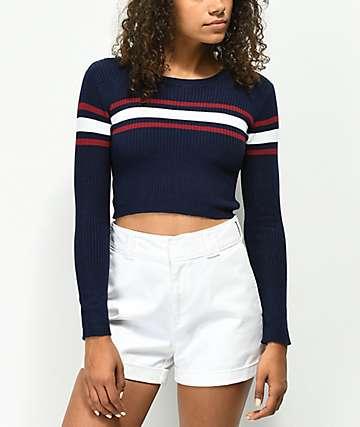 Ethos Rory suéter corto azul marino de rayas