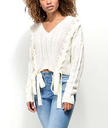 Ethos Sandi Laced Ivory Crop Sweater
