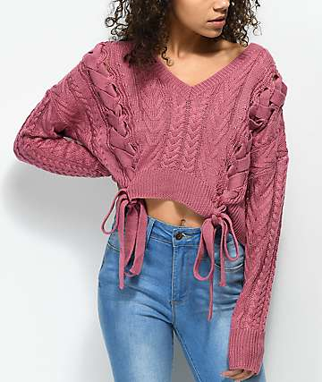 Ethos Sandi Laced Pink Crop Sweater