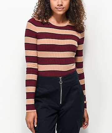 Ethos Tay Tay Burgundy & Tan Stripe Sweater