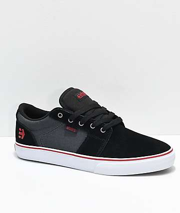 Etnies Barge LS Black, Grey & Silver Canvas Skate Shoes