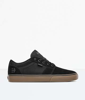 Etnies Barge LS Black, Gum & Grey Canvas Skate Shoes