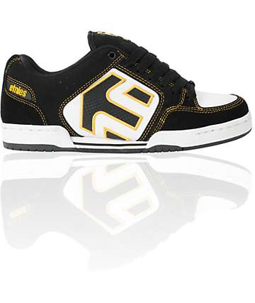 Etnies Charter Black, White & Gold Skate Shoes