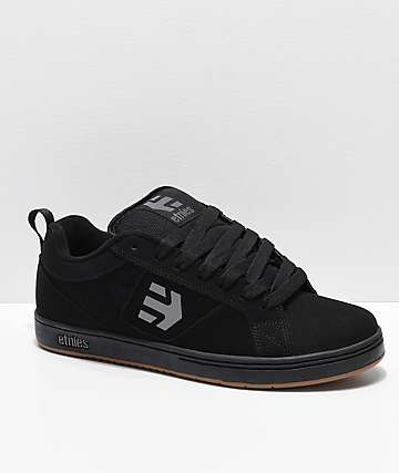 Etnies Drexel Black, Grey & Gum Nubuck Skate Shoes