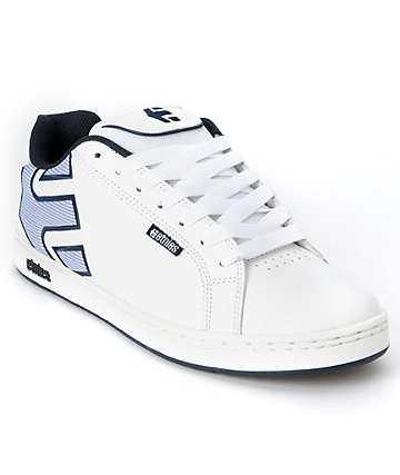 Etnies Fader White & Blue Skate Shoes