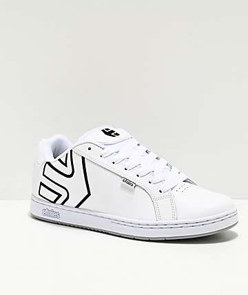 Etnies Fader White & Silver Skate Shoes