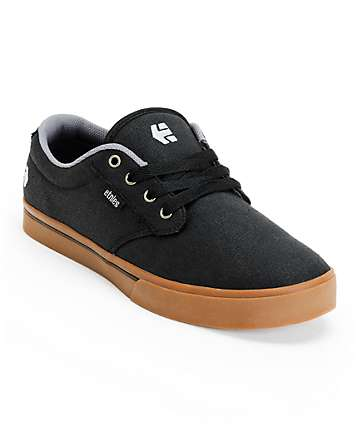 Etnies Jameson 2 Eco Black & Gum Canvas Skate Shoes