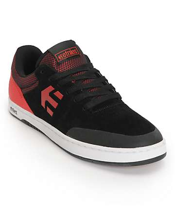 Etnies Marana Black & Red Suede Skate Shoes