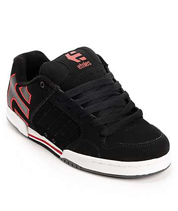 Etnies Piston Black, Red, & White Skate Shoes