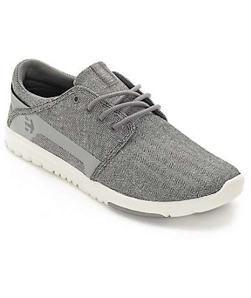 Etnies Scout Grey & White Herringbone Shoes
