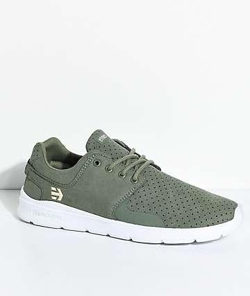 Etnies Scout XT Olive & White Microfiber Suede Shoes
