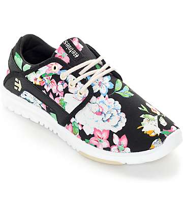 Etnies Women's Scout Black Floral Shoes