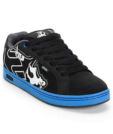 Etnies x Metal Mulisha Fader Black & Blue Skate Shoes