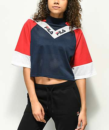 FILA Addi Navy & Red Crop Top
