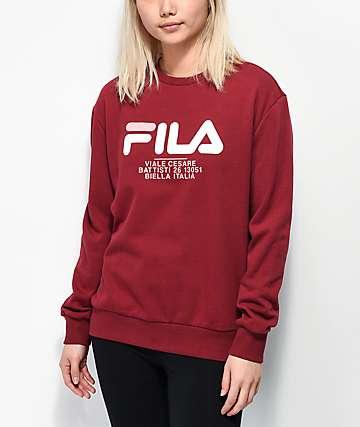 FILA Agnese Tibetan Red Crew Neck Sweatshirt