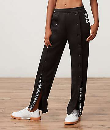 FILA Alice Snap Front Black Jogger Pants