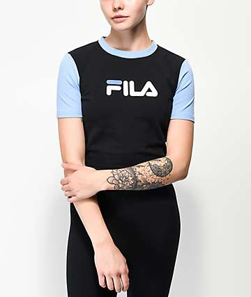 FILA Anna Black & Vista Blue Crop T-Shirt