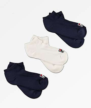 FILA Box Logo 3 Pack No Show Socks