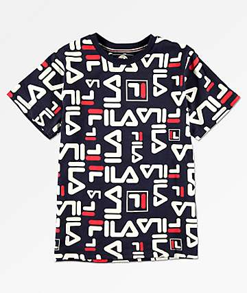 FILA Boys All Over Logo Print Navy T-Shirt