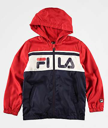 FILA Boys Colorblock Navy & Red Hooded Windbreaker Jacket