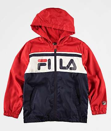 FILA Boys Colorblock Navy & Red Hooded Windbreaker Jacket