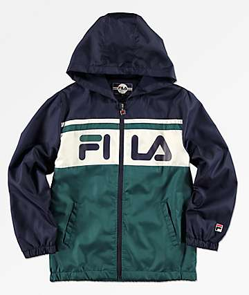 FILA Boys Green, Navy & White Colorblock Hooded Windbreaker Jacket
