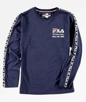 FILA Boys International Logo Taping Navy Long Sleeve T-Shirt