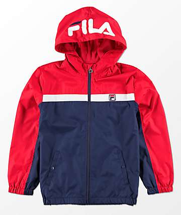 FILA Boys Red, White & Blue Hooded Windbreaker Jacket