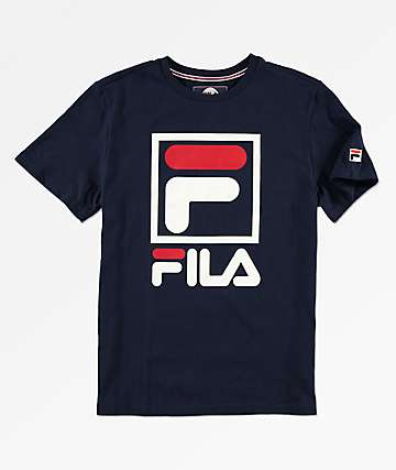 FILA Boys Stacked Logo Navy T-Shirt
