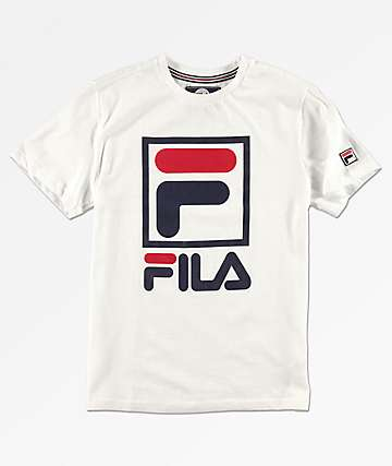 FILA Boys Stacked Logo White T-Shirt